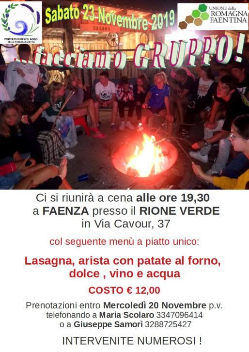 volantino cena del23NOV2019 a Faenza